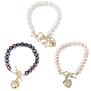 Michael Valitutti Palladium Silver Paris Mother-of-Pearl & Freshwater Cultured Pearl Toggle Bracelet
