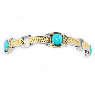 Michael Valitutti Palladium Silver Kingman Turquoise Chevron Textured Link Bracelet