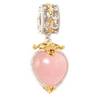 Michael Valitutti Palladium Silver Rose Quartz & Ruby Heart Drop Charm