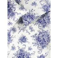 Printed Design Cotton Collection 400 Thread Count Navy Toile Sheet Set