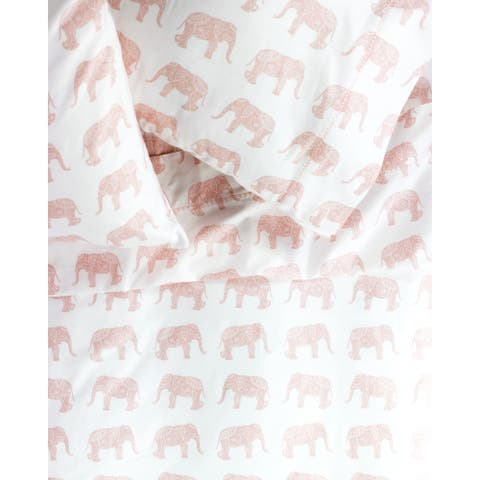 Printed Design Cotton Collection 400 Thread Count Pink Elephants Embroidered Bed Sheet Set