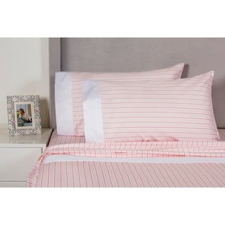 Printed Design Cotton Collection 400 Thread Count Pink Stripe Sheet Set