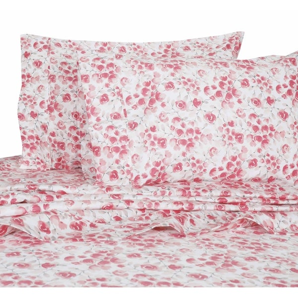 Printed Design Cotton Collection 400 Thread Count Red Poppy Sheet Set