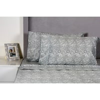 Printed Design Cotton Collection 400 Thread Count Grey Lace Sheet Set