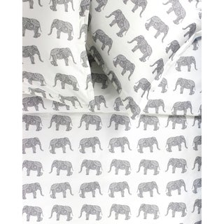 Printed Design Cotton Collection 400 Thread Count Grey Elephants Embroidered Duvet Set