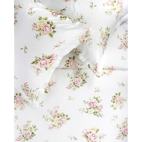 Printed Design Cotton Collection 400 Thread Count Rose Bouquet Embroidered Duvet Set