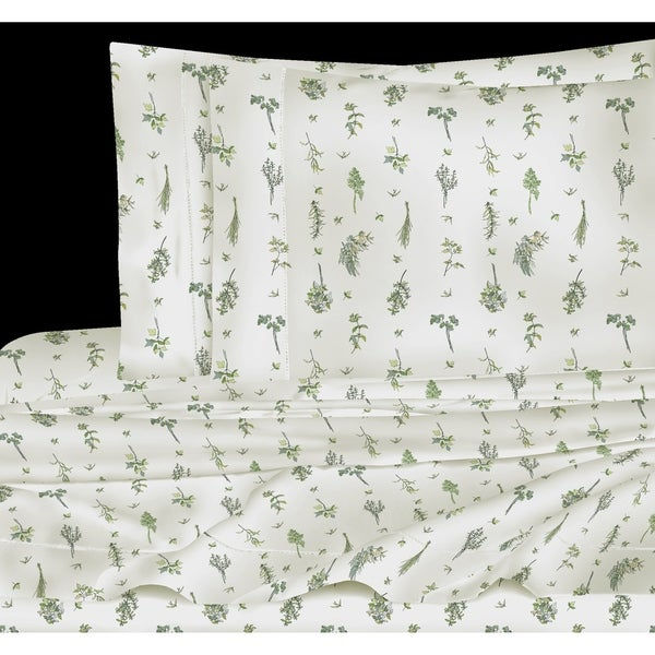 Printed Design Cotton Collection 400 Thread Count Green Sprigs Sheet Set