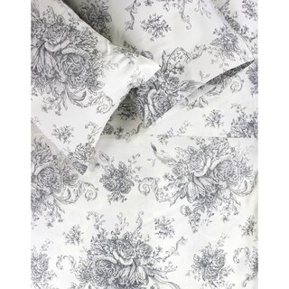 Printed Design Cotton Collection 400 Thread Count Grey Toile Sheet Set