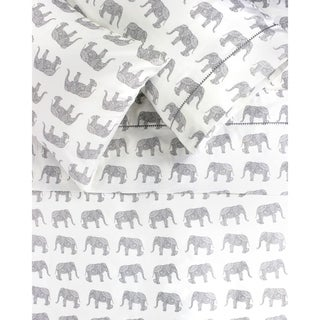 Printed Design Cotton Collection 400 Thread Count Grey Elephants Embroidered Sheet Set