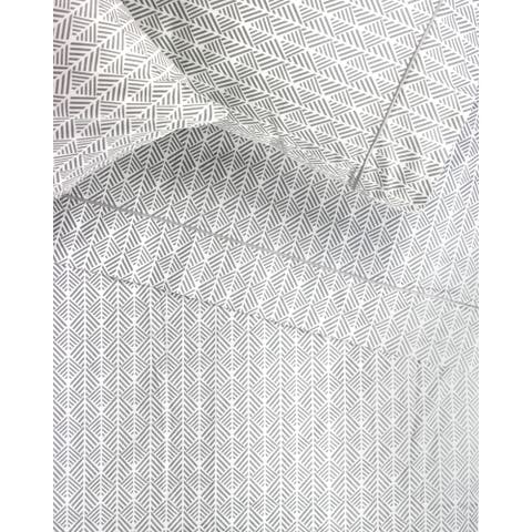 Cotton 400 Thread Count Grey Arrow Embroidered Sheet Set