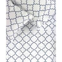 Printed Design Cotton Collection 400 Thread Count Navy Lattice Sheet Set