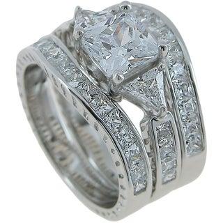 Plutus Sterling Silver Wedding 3 Piece Ring Set