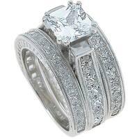 Plutus Sterling Silver Rhodium Finish CZ Princess 3 piece Ring Set