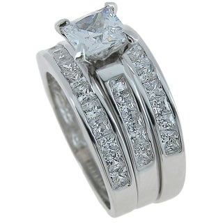 Sterling Silver Rhodium Finish CZ Princess Solitaire 3 Piece Ring Set (5 options available)