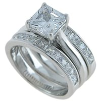 Plutus Sterling Silver 3 Piece Wedding Ring Set