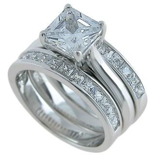 Plutus Sterling Silver 3 Piece Wedding Ring Set