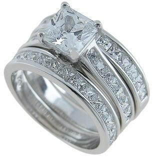 Plutus Sterling Silver Princess Engagement 3 Piece Ring Set