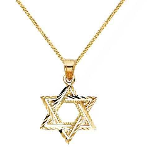 14k Yellow Gold Textured Star of David Religious Pendant and Wheat Chain Necklace