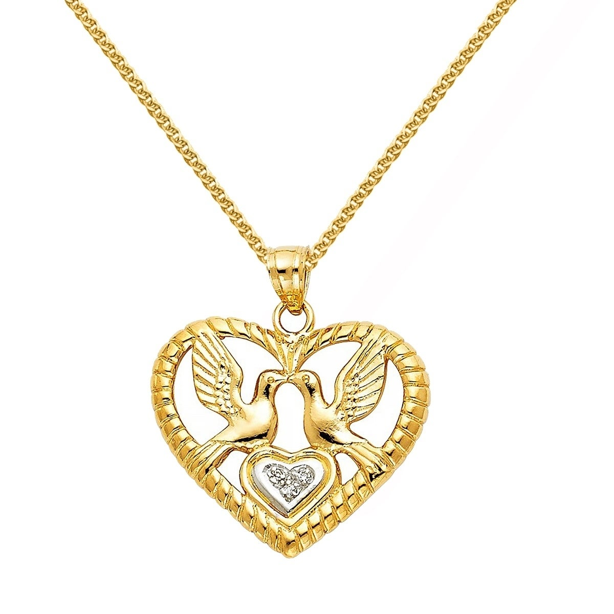 14k Two-tone Diamond Cut Heart Pendant Length 24 Width 19