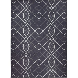 Ruggable Washable Indoor/ Outdoor Stain Resistant Pet Rug Amara Black (5' x 7') - 5' x 7'