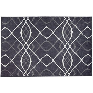 RUGGABLE Washable Indoor/ Outdoor Stain Resistant Pet Rug Amara Black 3 x 5'