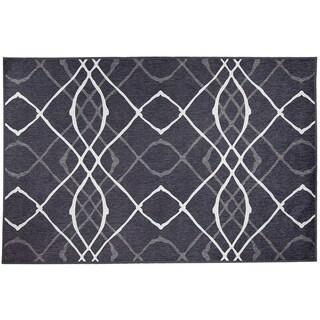 RUGGABLE Washable Indoor/ Outdoor Stain Resistant Pet Rug Amara Black 3 X 5u0027