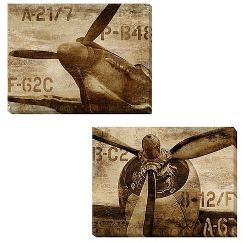Vintage Airplane and Vintage Propeller by Dylan Matthews 2-piece Gallery-Wrapped Canvas Giclee Art Set