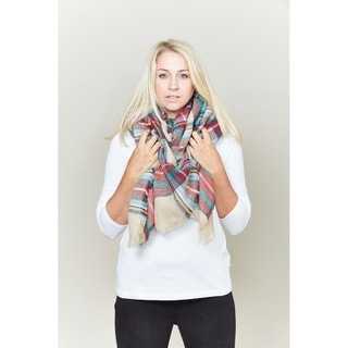 Le Nom Classic plaid check pattern blanket scarf