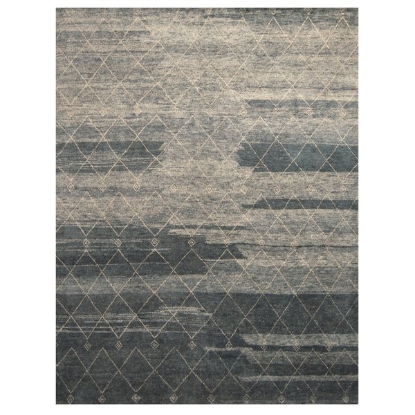 """Handmade Herat Oriental Indo Hand-knotted Moroccan Wool Area Rug - 9'2"""" x 11'7"""" (India)"""