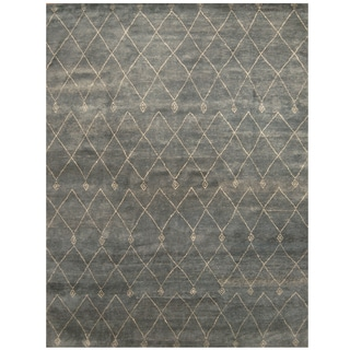 Handmade Herat Oriental Indo Hand-knotted Moroccan Wool Area Rug (9'3 x 11'8)