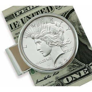 American Coin Treasures Sterling Silver Peace Silver Dollar Coin Moneyclip