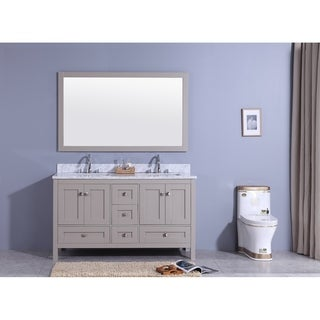 61 In. Bathroom Vanity In Warm Gray With Marble Top And Mirror