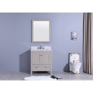 31 in.Batroom Vanity in Warm gray with Marble Top and Mirror