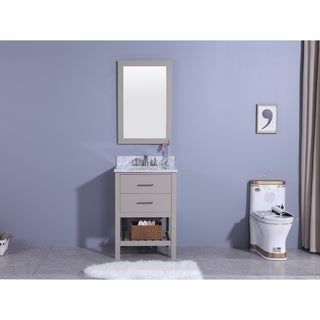 Legion Furniture 25 in. Bathroom Vanity in gray with Marble Top and Mirror
