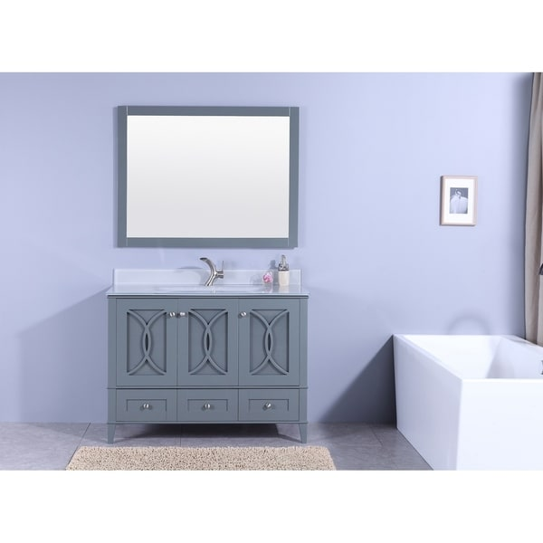 48 in. Bathroom Vanity in Dark Gray with Tempered Glass Top and Mirror