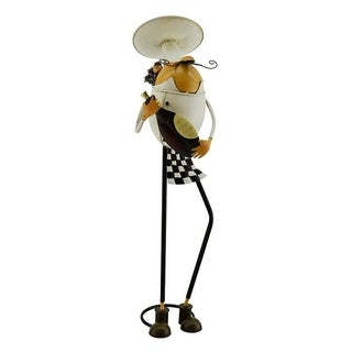Metal French style chef character with bottle in hand