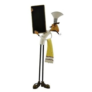 Metal chef character with black board in hand