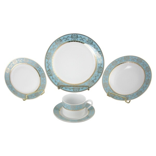 40-pc dinnerware set for 8, blue and gold pattern