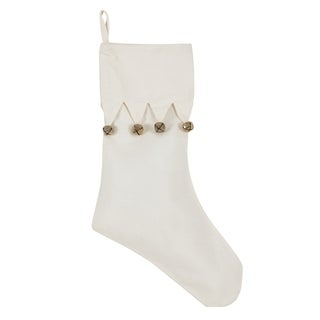 Jingle Bell Accent Cotton Christmas Stocking