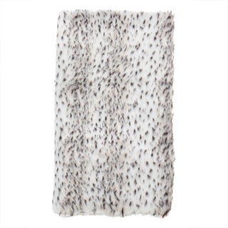 Faux Fur Spotted Snow Leopard Poly Filled Throw Blanket