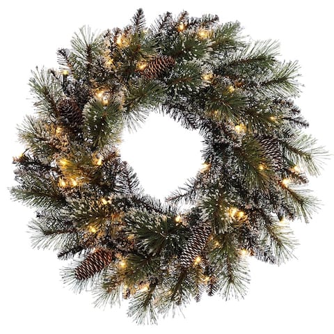 Puleo International 24 inch Prelit Decorated wreath with 50 Clear Incandescent Lights