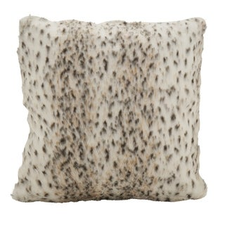 Faux Fur Spotted Snow Leopard Poly Filled Throw Pillow