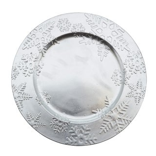Embossed Winter Snowflake Design Charger Plate - set of 4 pcs