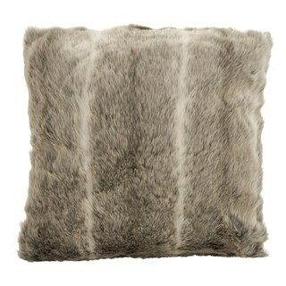 Faux Fur Ombre Stripe Poly Filled Throw Pillow