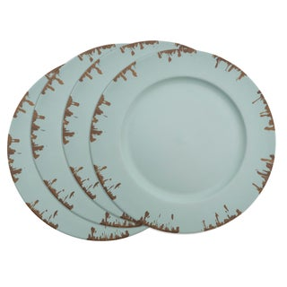Distressed Edge Charger Plate - set of 4 pcs (Option: Blue)
