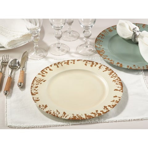 Distressed Edge Charger Plate - set of 4 pcs