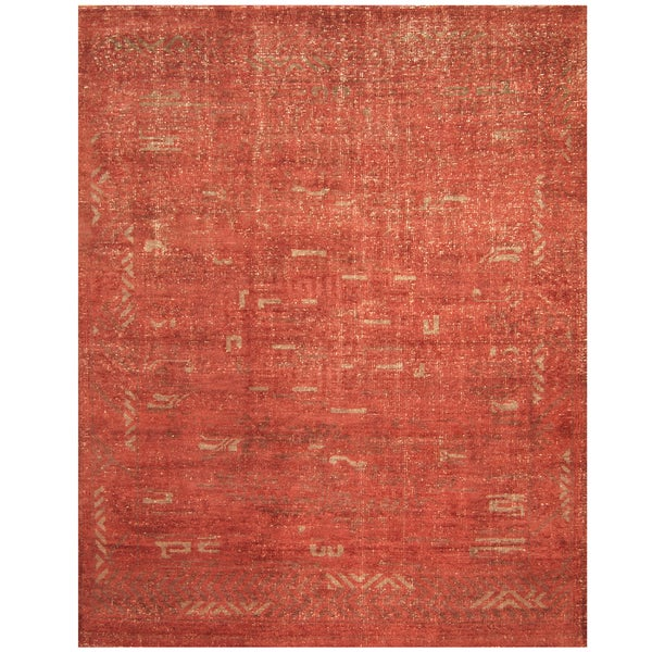 Handmade Herat Oriental Indo Hand-knotted Moroccan Wool Area Rug - 7'9 x 9'9 (India)