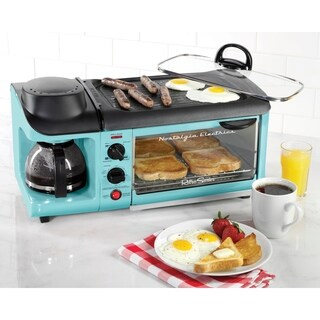 Nostalgia BSET300BLUE Retro Series 3-in-1 Family Size Breakfast Station