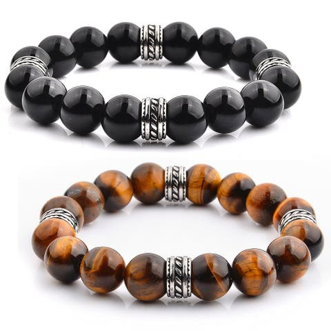 Stainless Steel Natural Stone Stretch Bracelet