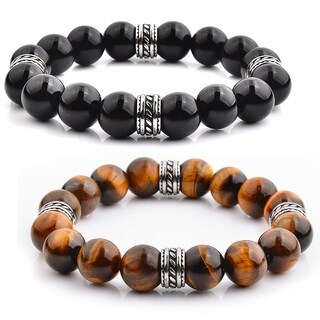 Crucible Stainless Steel Natural Stone Beaded Tribal Stretch Bracelet (10mm Wide)